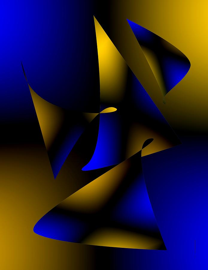 Blue And Brown Abstract Design Digital Art