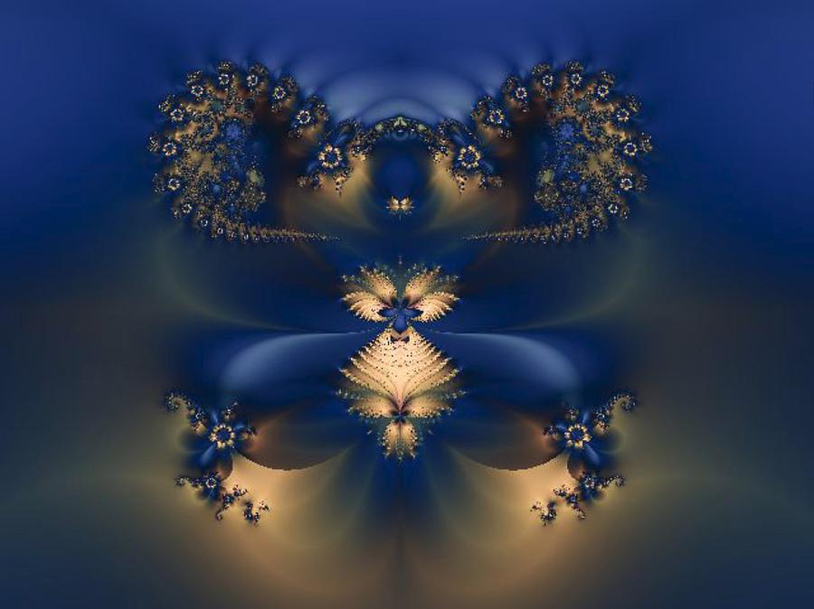 Blue And Gold Flowers Fractal Photograph