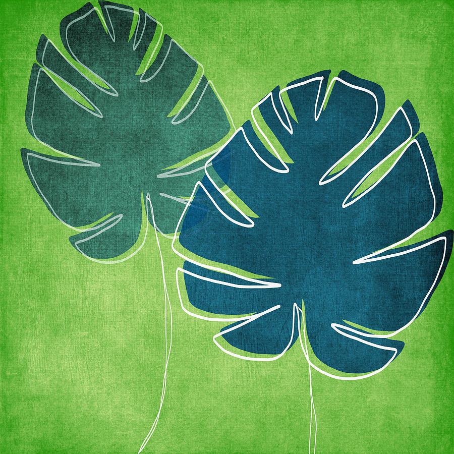 Blue And Green Palm Leaves Painting By Linda Woods