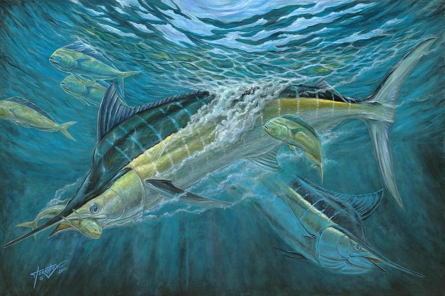 Blue And Mahi Mahi Underwater Painting  - Blue And Mahi Mahi Underwater Fine Art Print