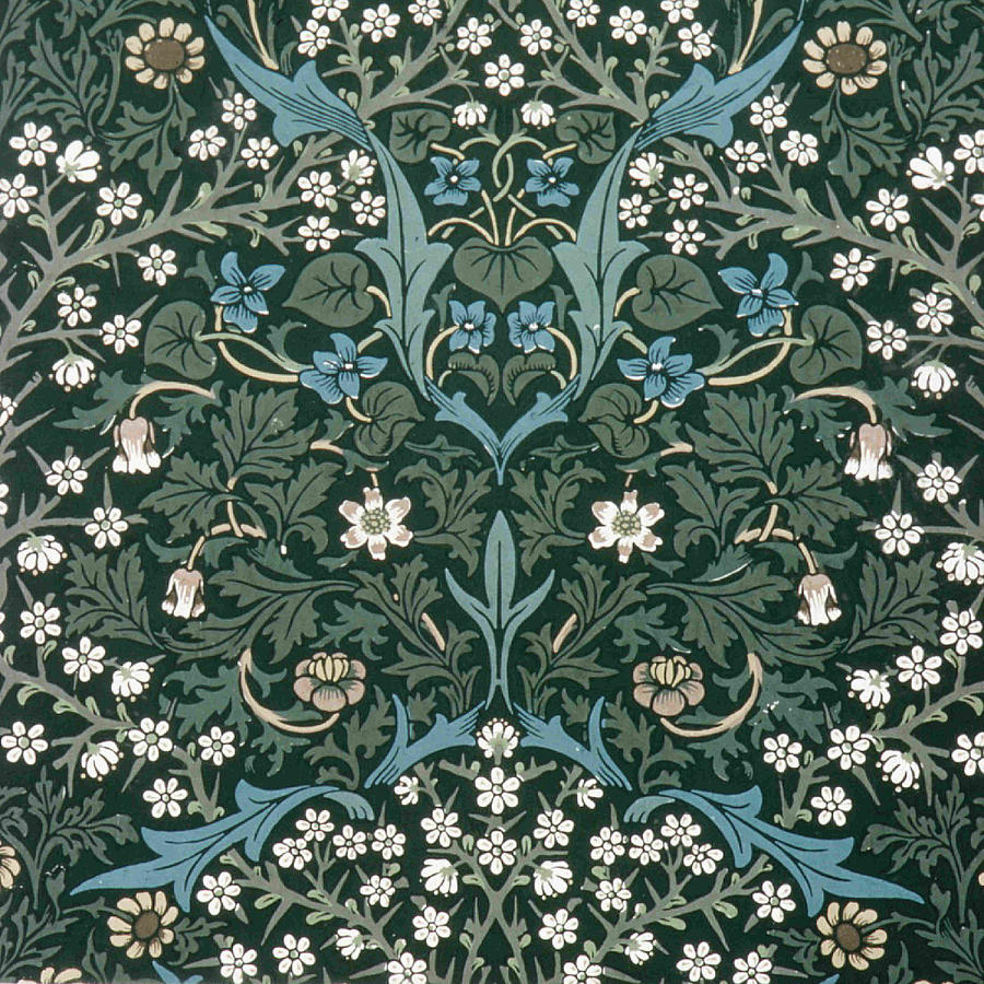 Blue And White Flowers On Green Tapestry Textile By