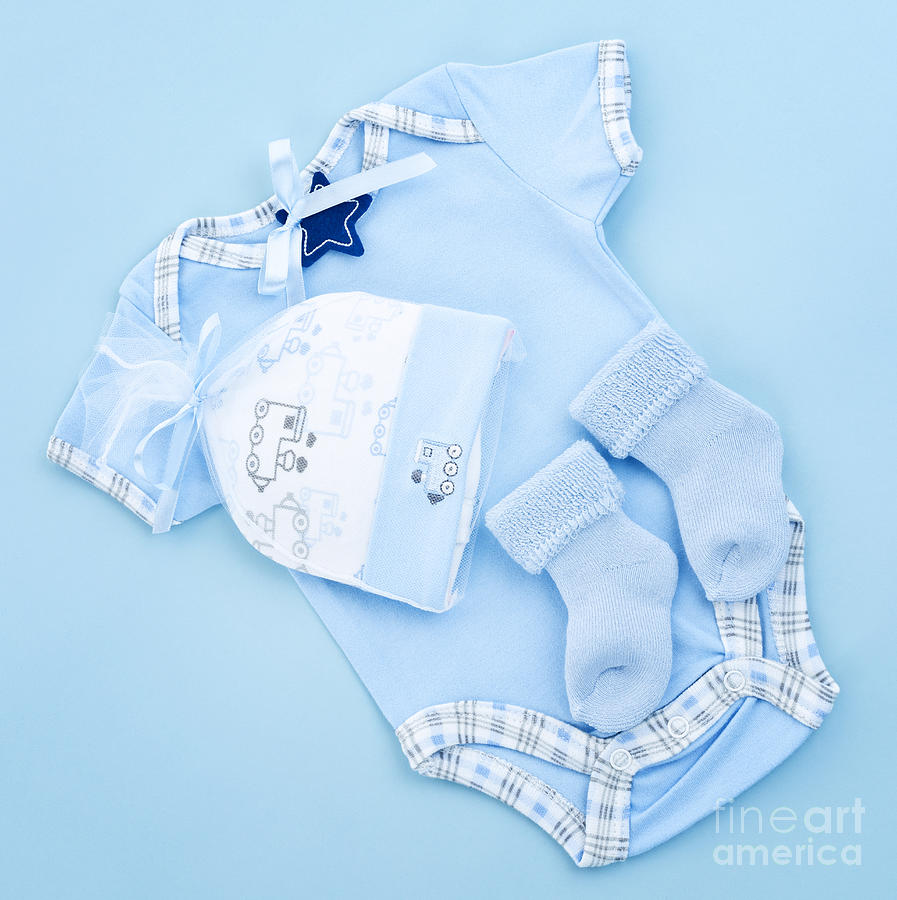 Blue Baby Clothes For Infant Boy Photograph  - Blue Baby Clothes For Infant Boy Fine Art Print