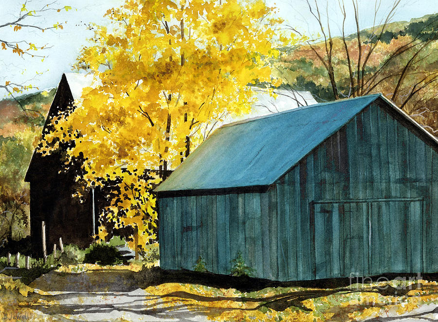 Blue Barn Painting - Blue Barn by Barbara Jewell