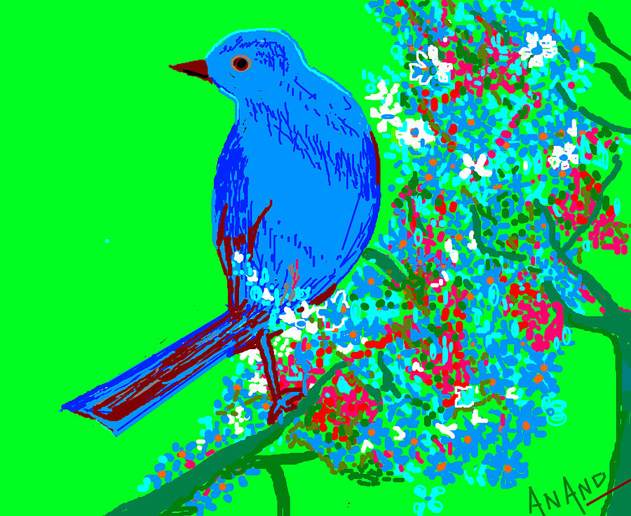 Blue Bird And Flowers Digital Art