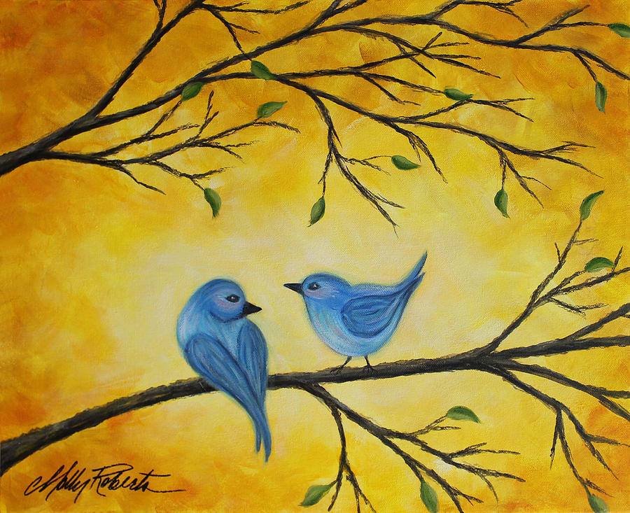 Blue Painting - Blue Birds by Molly Roberts
