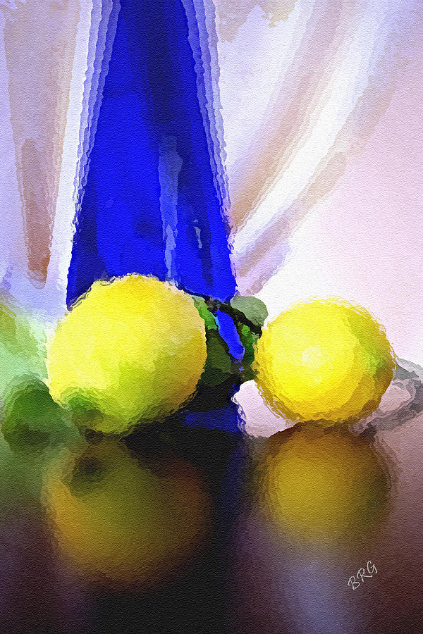 Blue Bottle And Lemons Photograph