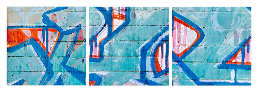 Blue Brick Graffiti Photograph  - Blue Brick Graffiti Fine Art Print