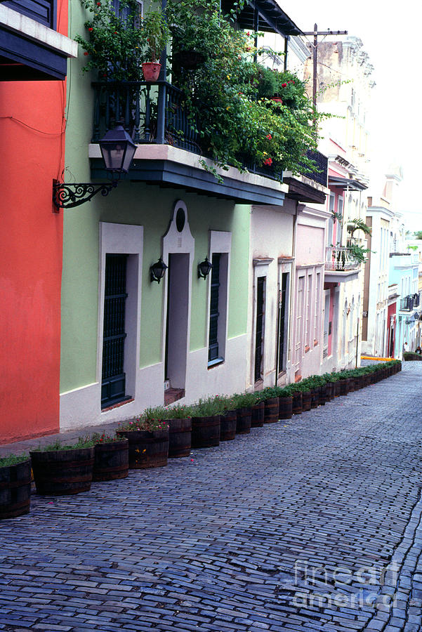 Blue Brick Street Old San Juan Photograph