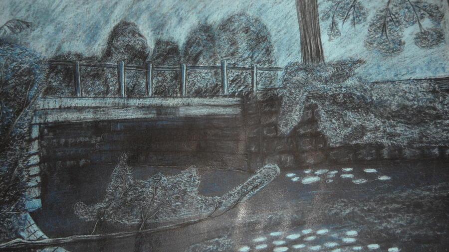 Blue Bridge At Dusk Drawing