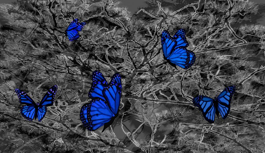 Blue Butterflies 2 Mixed Media
