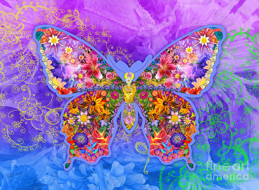 Butterfly Digital Art - Blue Butterfly Floral by Alixandra Mullins