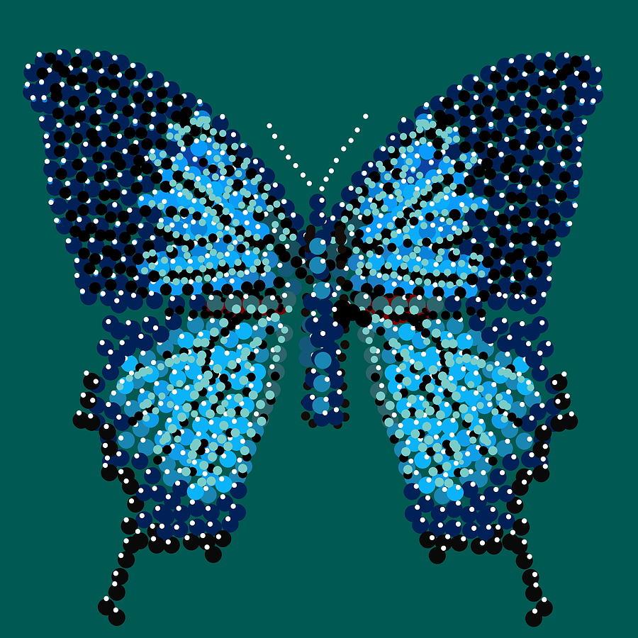 Blue Butterfly Green Background Digital Art