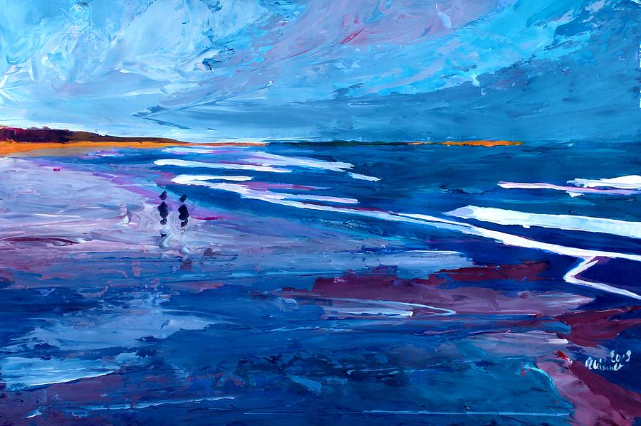 Blue Californian Seascape In Big Sur Painting