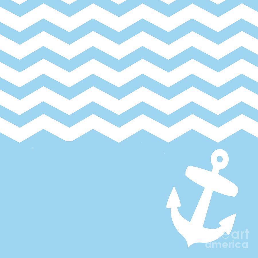Blue Digital Ar... Light Blue Anchor Wallpaper