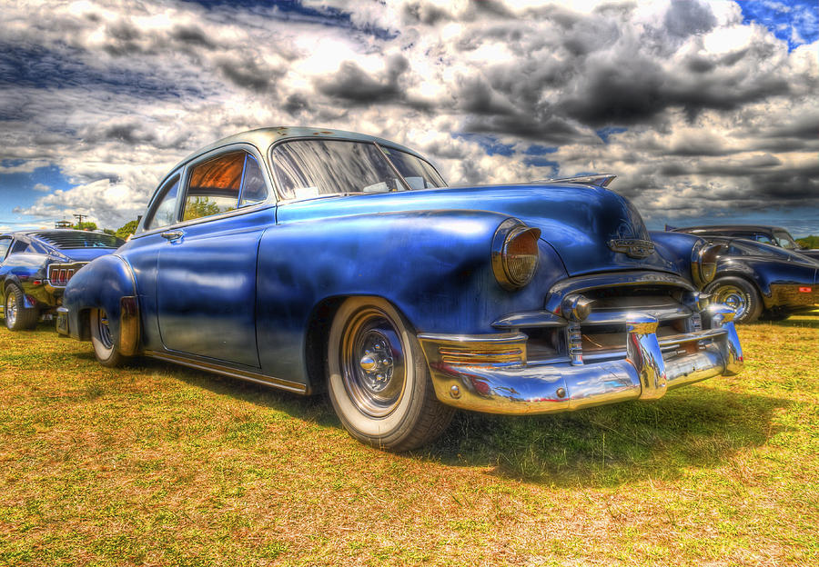 Fifties Automobile Photograph - Blue Chevy Deluxe - Hdr by Phil motography Clark