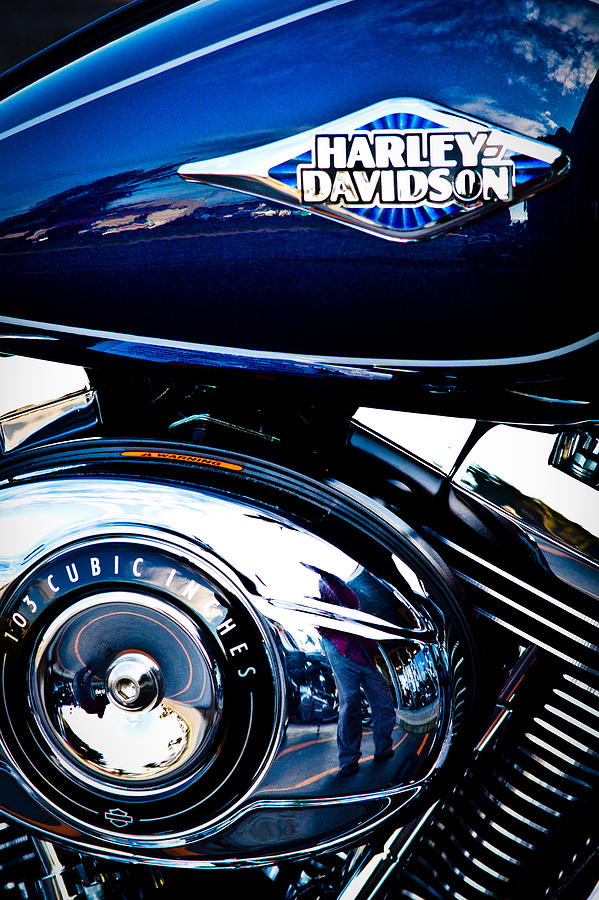 Classic Cycle Photograph - Blue Chopper by David Patterson