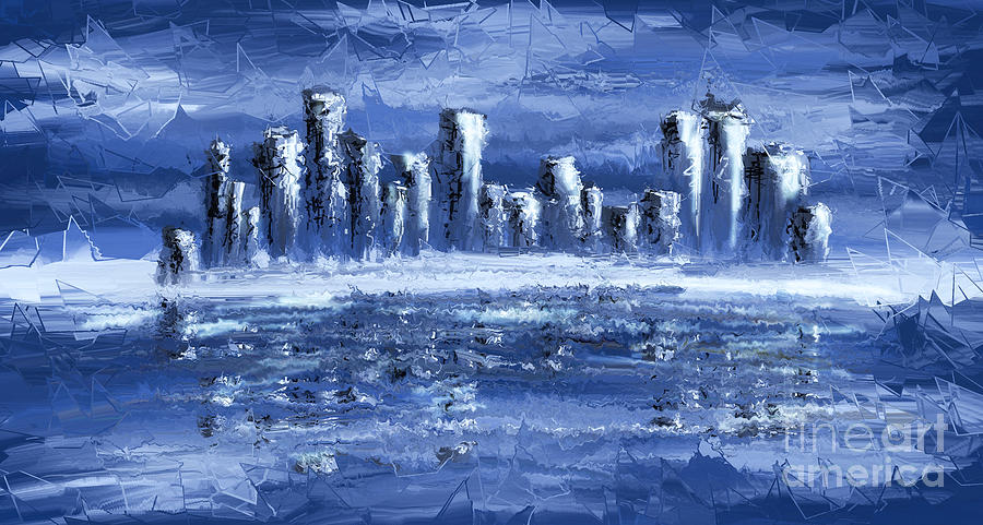 Blue City Digital Art  - Blue City Fine Art Print