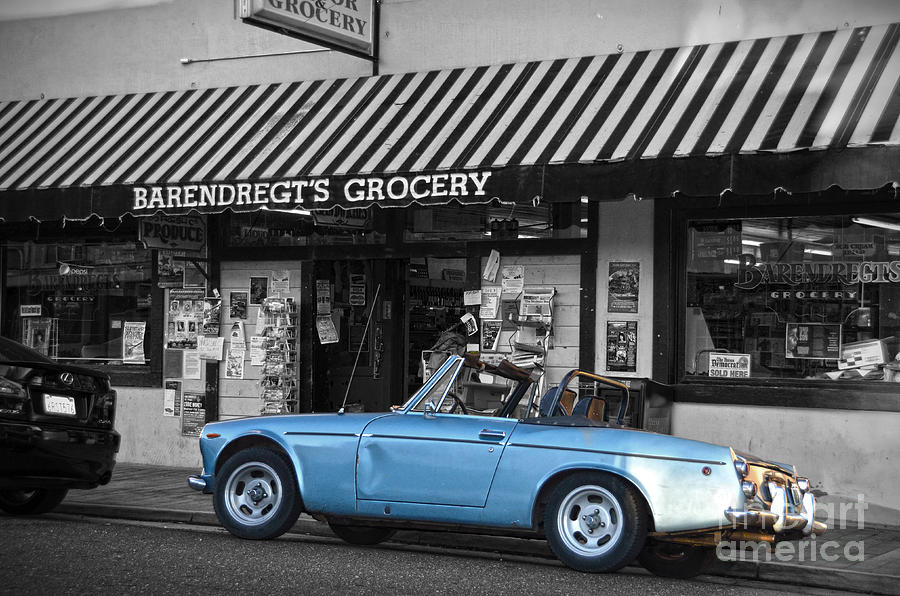 Blue Classic Car In Jamestown Photograph