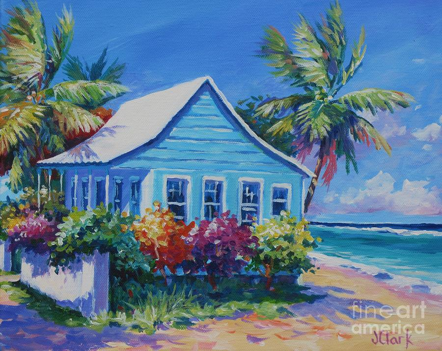 Blue cottage on the beach painting by john clark for Beach house prints