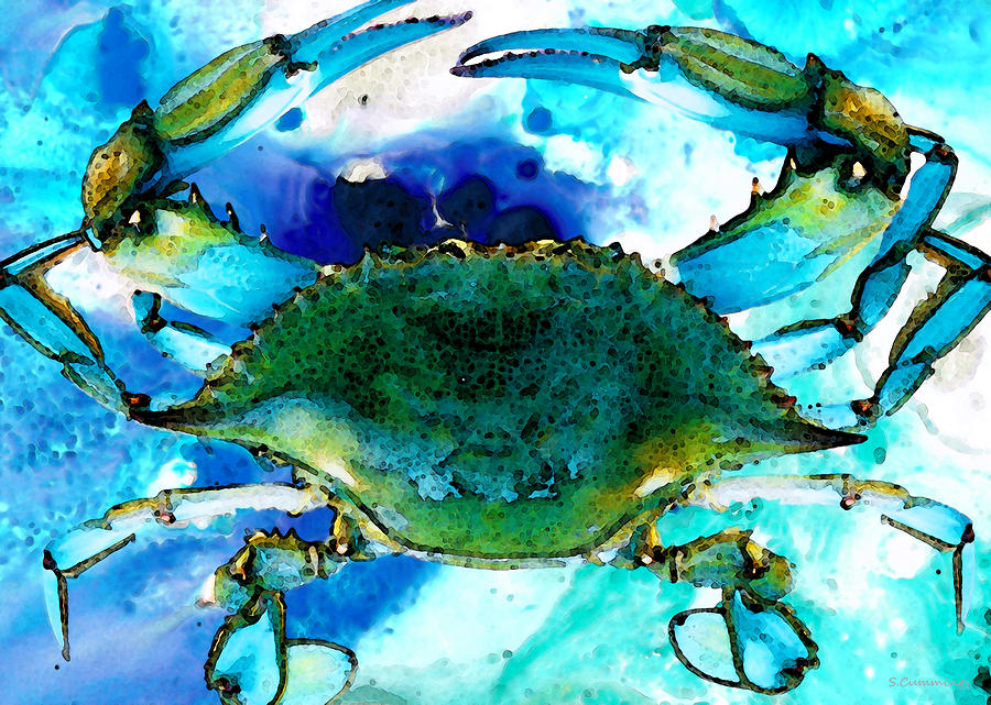 Abstract Blue Crab Painting