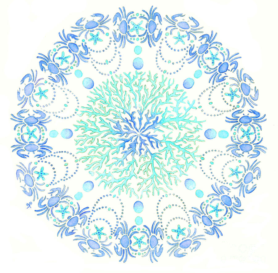 Blue Crab Mandala Painting  - Blue Crab Mandala Fine Art Print