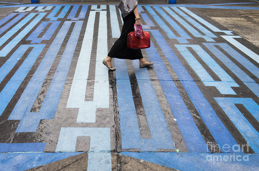 Blue Crosswalk Photograph  - Blue Crosswalk Fine Art Print