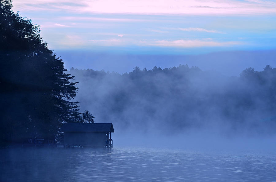Blue Dawn Mist Photograph  - Blue Dawn Mist Fine Art Print