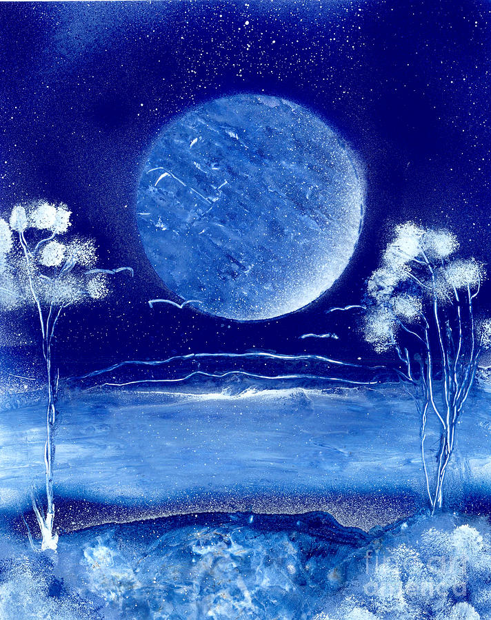Blue Desert Night Painting  - Blue Desert Night Fine Art Print