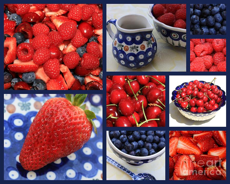 Blue Dishes And Fruit Collage Photograph