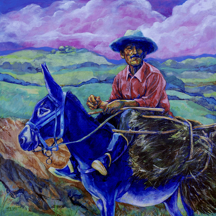 Blue Donkey Painting By Derrick Higgins