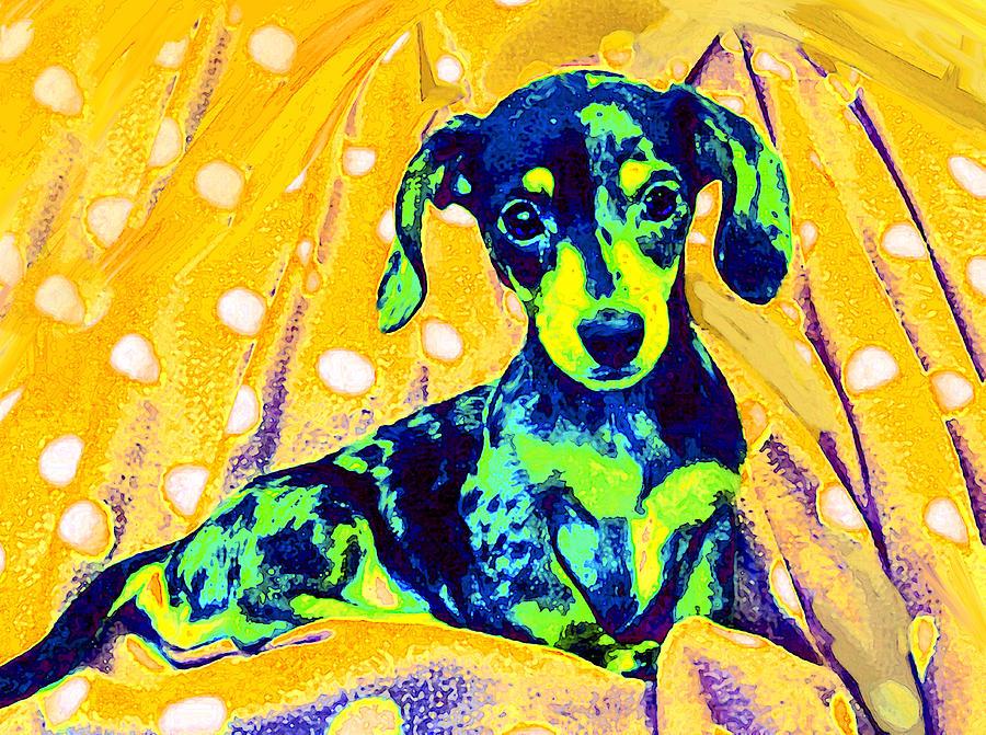 Dachshund Digital Art - Blue Doxie by Jane Schnetlage