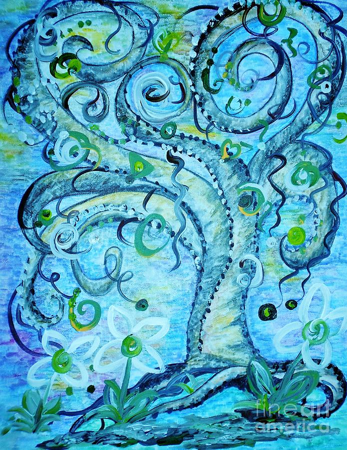 Blue Fantasy Tree Painting  - Blue Fantasy Tree Fine Art Print