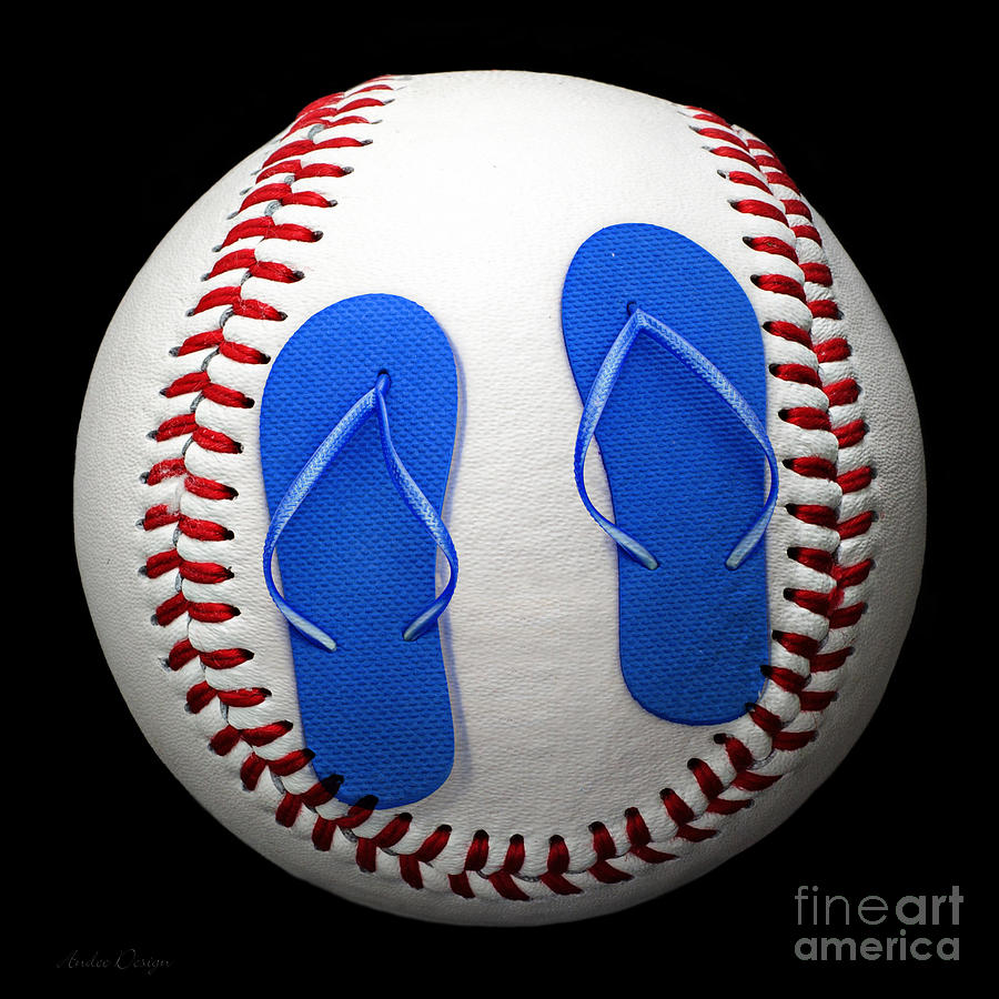 Blue Flip Flops Baseball Square Photograph