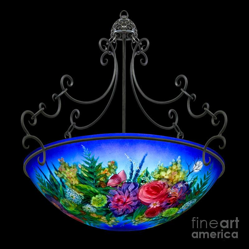Blue Floral  Glass Art