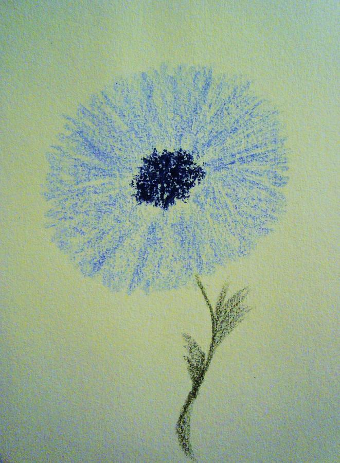 Blue Flower Drawing  - Blue Flower Fine Art Print