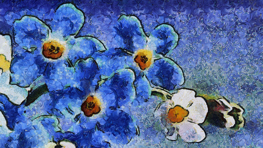 blue flowers van gogh style painting by lilia d