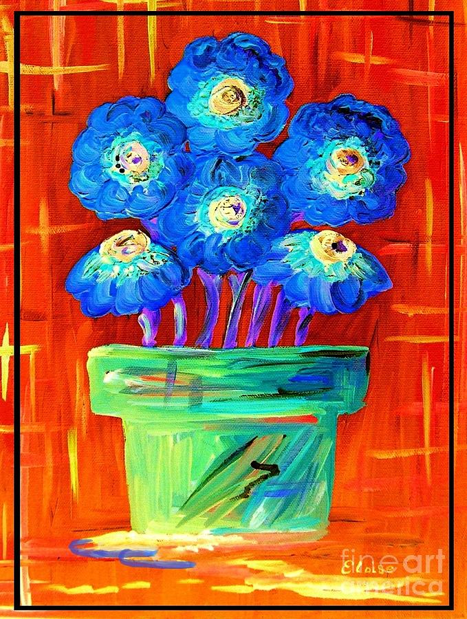 Blue Painting - Blue Flowers On Orange by Eloise Schneider