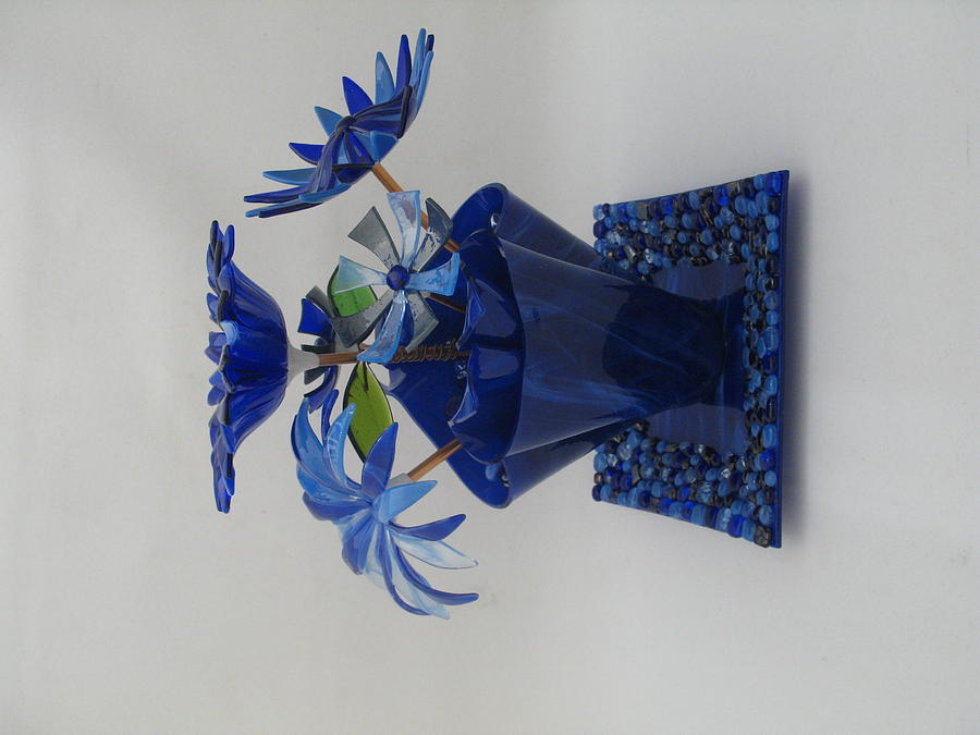 Blue Flowers Glass Art  - Blue Flowers Fine Art Print
