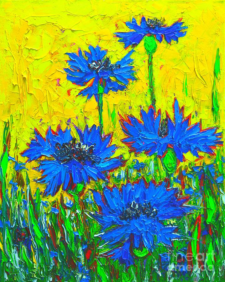 Cornflowers Painting - Blue Flowers - Wild Cornflowers In Sunlight  by Ana Maria Edulescu