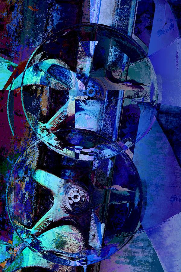 Blue Gears Collage Digital Art