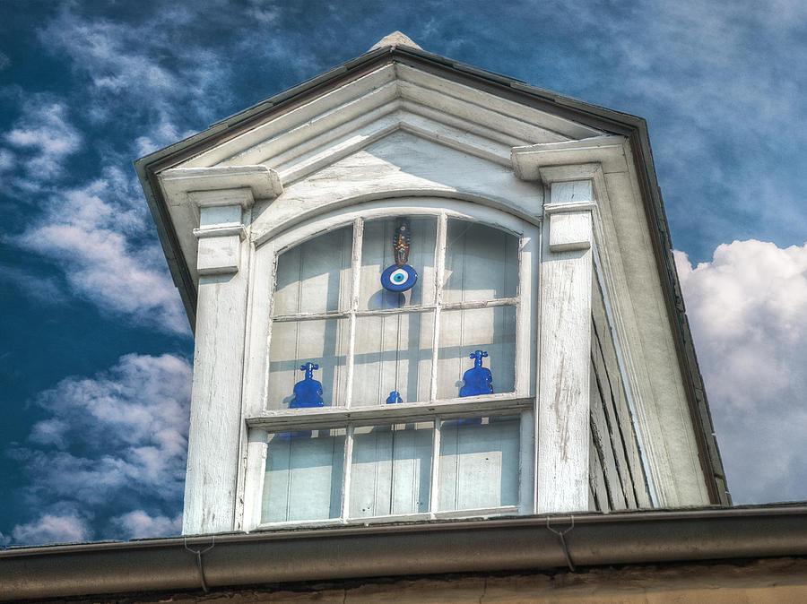 French Quarter Photograph - Blue Glass In Window by Brenda Bryant