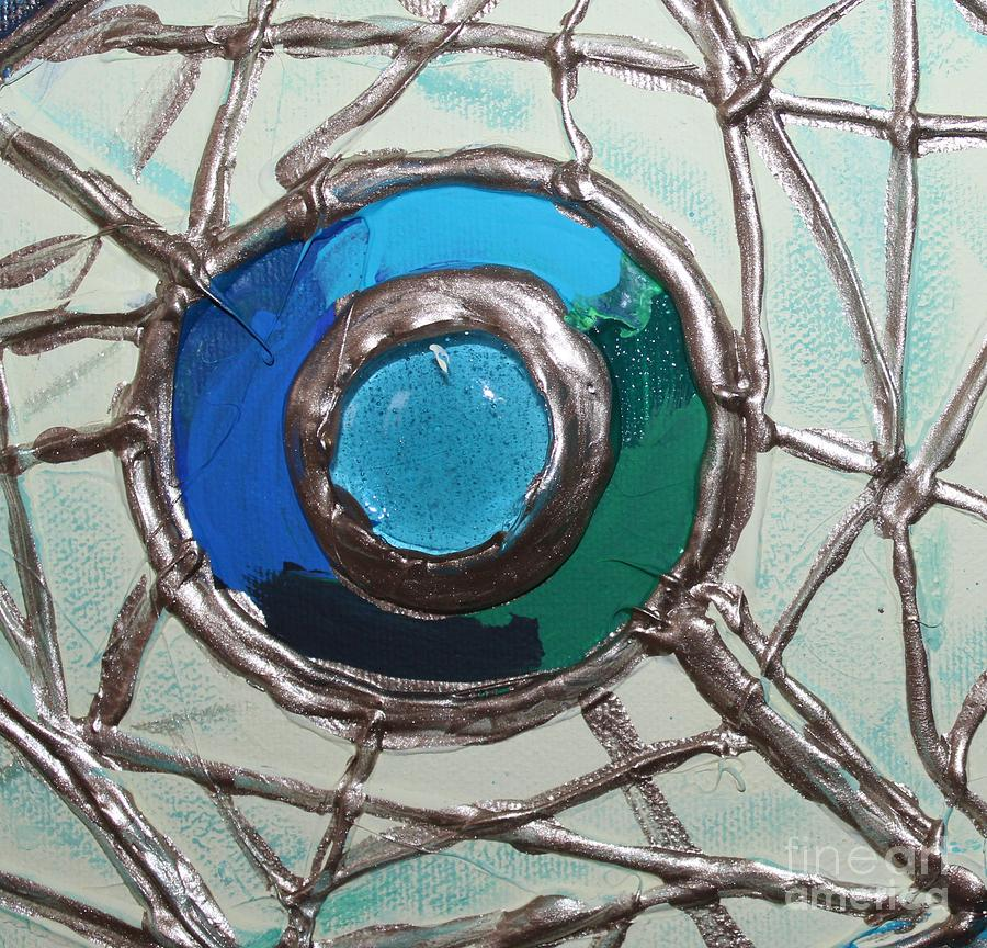 Blue Green And Gold Circle Painting  - Blue Green And Gold Circle Fine Art Print