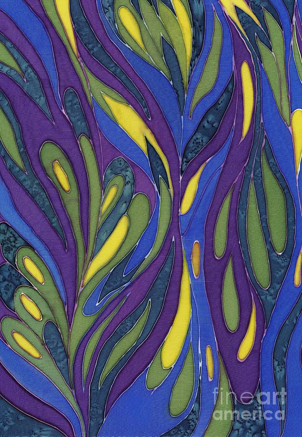 Abstract Painting - Blue Green Purple Abstract Silk Design by Sharon Freeman
