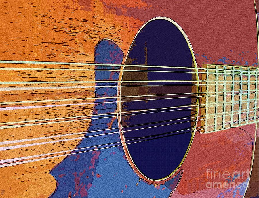 Blue Guitar Digital Art  - Blue Guitar Fine Art Print