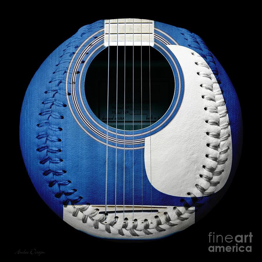 Blue Guitar Baseball White Laces Square Photograph