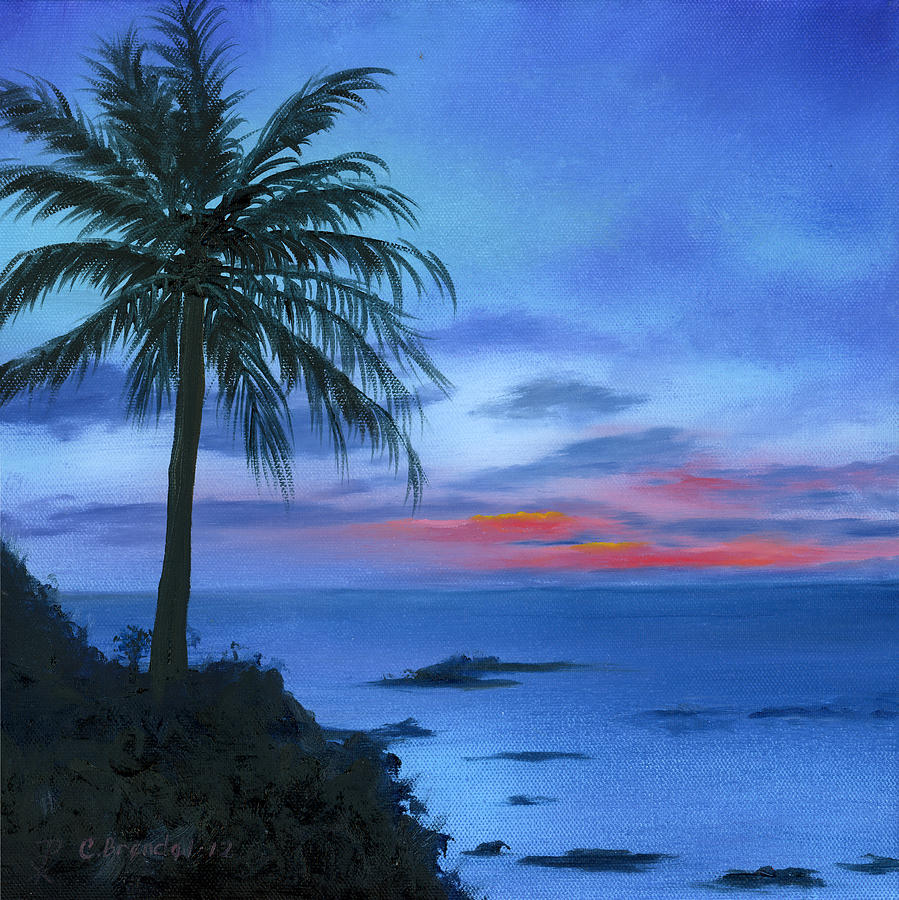 Blue Hawaiian Sunset Painting  - Blue Hawaiian Sunset Fine Art Print