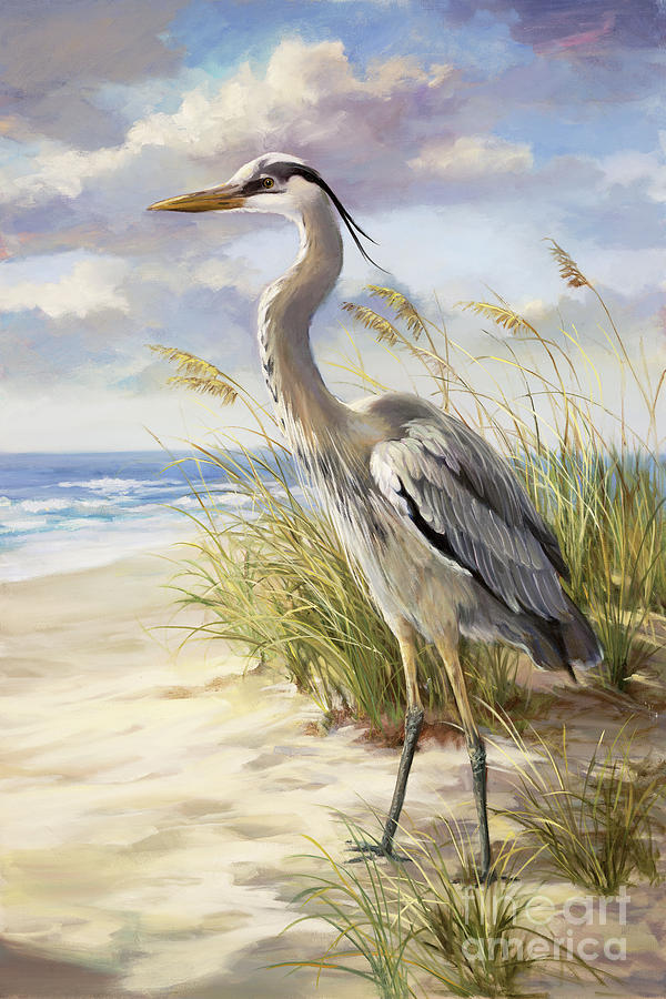 blue heron painting by laurie hein