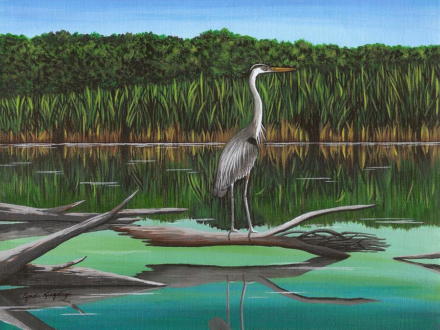 Blue Heron On Irondequoit Creek Rochester Ny Painting  - Blue Heron On Irondequoit Creek Rochester Ny Fine Art Print