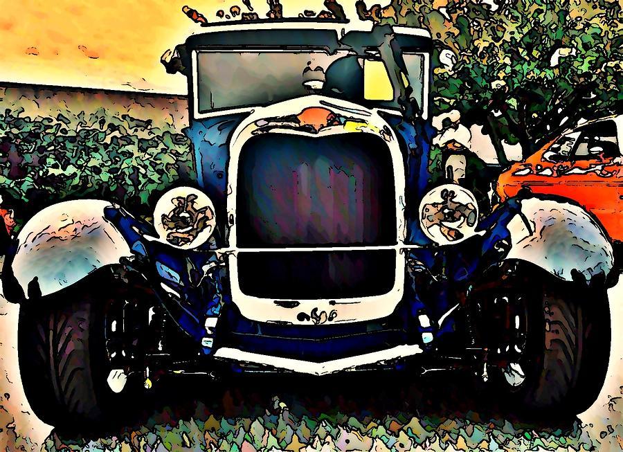 Blue Hot Rod Photograph