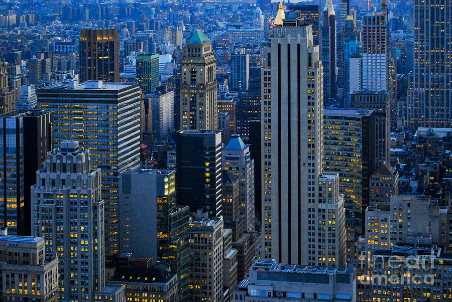 Blue Hour In New York City Usa Photograph